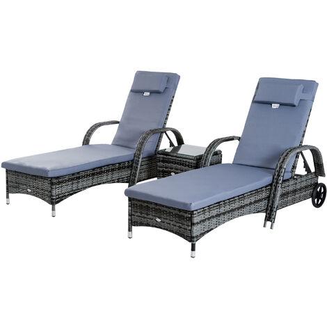 Outsunny Set 2 Tumbonas y Mesa con Respaldo Ajustable Chaise Longue para Jardín o Terraza - Gris