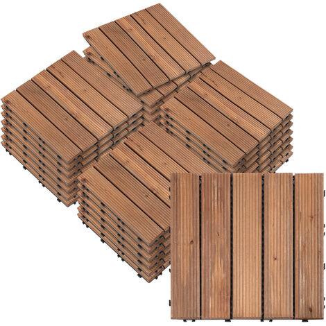 Outsunny Set 27 Baldosas de Madera 30x30cm con Área de 2,5 m² para Balcón Terraza Jardín - Marrón