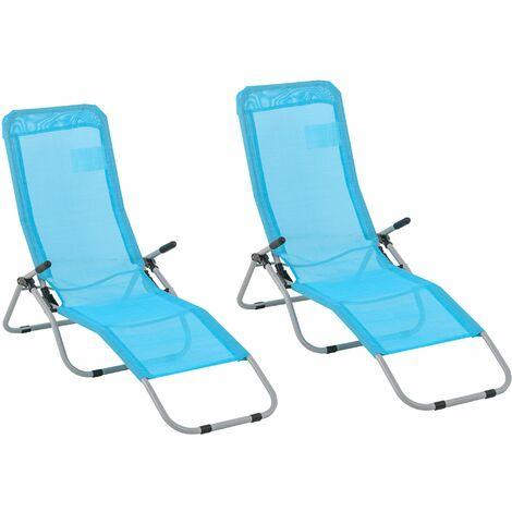 Outsunny Set de 2 Tumbonas Plegables con Respaldo Reclinable Textilene Jardín 140x55x93cm - Azul
