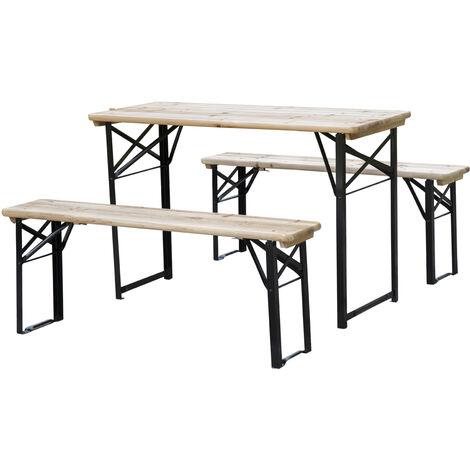 Outsunny Set de Mesa y Bancos Plegables para Picnic 120x50x76cm - Negro y Madera Natural