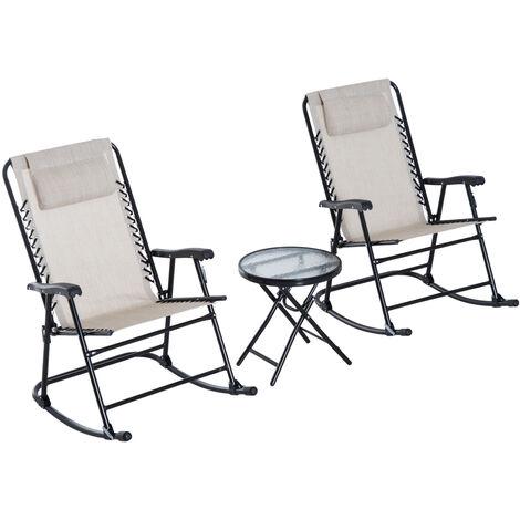 Outsunny Set de Muebles de Jardín Mesa Redonda y 2 Sillas Mecedoras Plegables 68x90x106cm - Beige