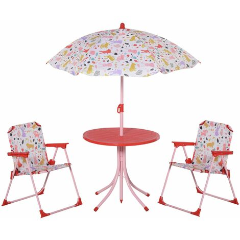 Outsunny Set Infantil Mesa Ø50x46 cm 2 Sillas Plegables Sombrilla Ajustable +3 Años Rojo - Rojo