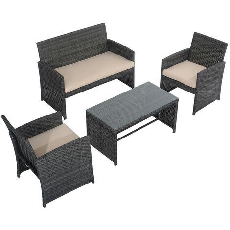 Poltrone In Rattan Da Interno.Outsunny Set Mobili Da Esterno In Pe Rattan Divanetto E 2 Poltrone