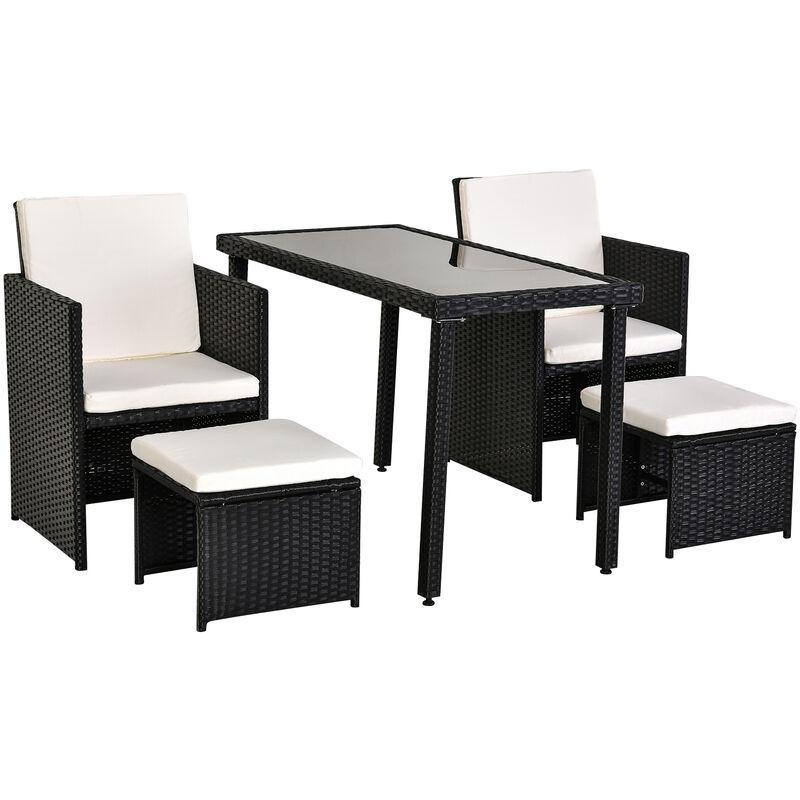 Tavolino Rattan Da Giardino.Outsunny Set Mobili Da Giardino In Pe Rattan Tavolo Con 2 Sedie E 2 Poggiapiedi Con Cuscini Nero