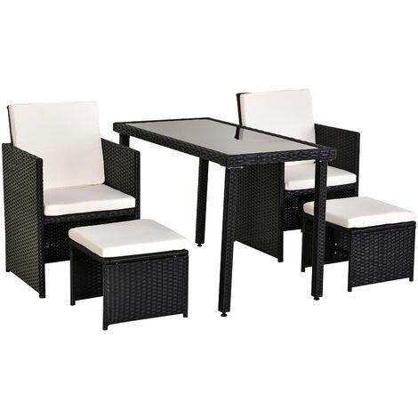 Sedie E Tavoli Da Giardino In Vimini.Outsunny Set Mobili Da Giardino In Pe Rattan Tavolo Con 2 Sedie E