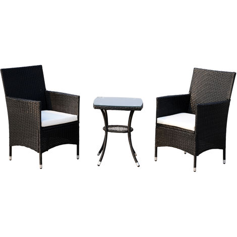 Outsunny set mobili da outdoor in rattan tavolo con 2 for Mobili outdoor