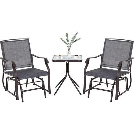 Outsunny Set Muebles de Jardín 2 Silla Mecedoras 1 Mesa de Acero Textilene Patio Exterior - Gris