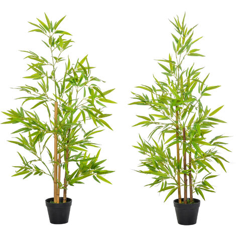 Outsunny Set of 2 120cm Artificial Bamboo Trees Plant w/ Pot Indoor Outdoor