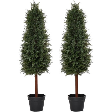 Outsunny Set Of 2 120cm Artificial Pine Trees Fake Plant w/ Pot Indoor Outdoor
