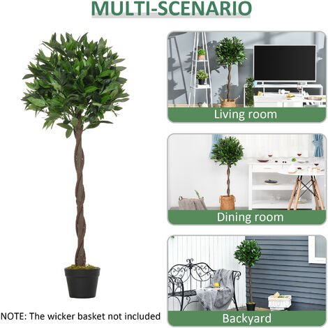 """main image of """"Outsunny Set of 2 120cm Artificial Topiary Bay Laurel Ball Trees Decorative w/ Pot"""""""