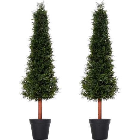 Outsunny Set Of 2 150cm Artificial Pine Trees Fake Plant w/ Pot Indoor Outdoor