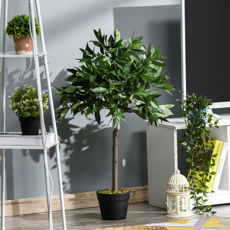 Outsunny Set of 2 90cm Artificial Topiary Bay Laurel Ball Trees Decorative w/ Pot