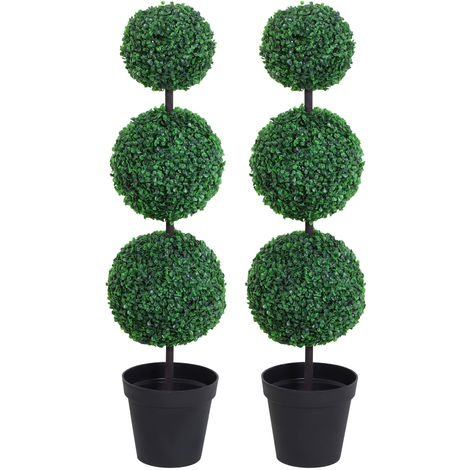 Outsunny Set of 2 Artificial Trees Plants 3 Balls w/ Black Cement Pot
