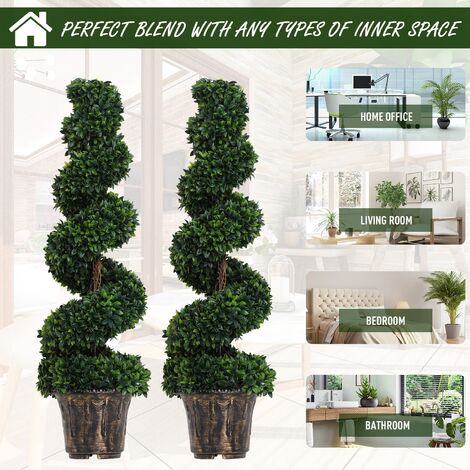 Outsunny Set of 2 Artificial Trees Plants Spiral Wavy w/ Black Cement Pot