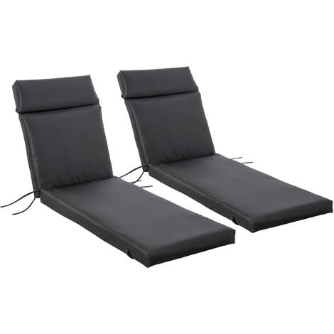Outsunny Set of 2 Lounger Cushion Non-Slip Seat Pads Indoor Outdoor Black