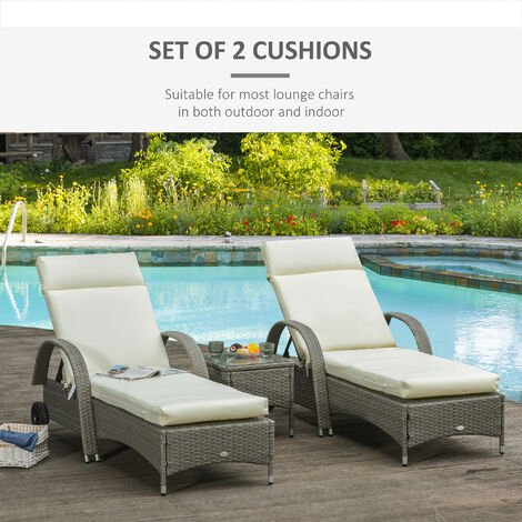 Outsunny Set of 2 Lounger Cushion Non-Slip Seat Pads Indoor Outdoor Cream White