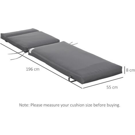 Outsunny Set of 2 Lounger Cushion Non-Slip Seat Pads Indoor Outdoor Grey