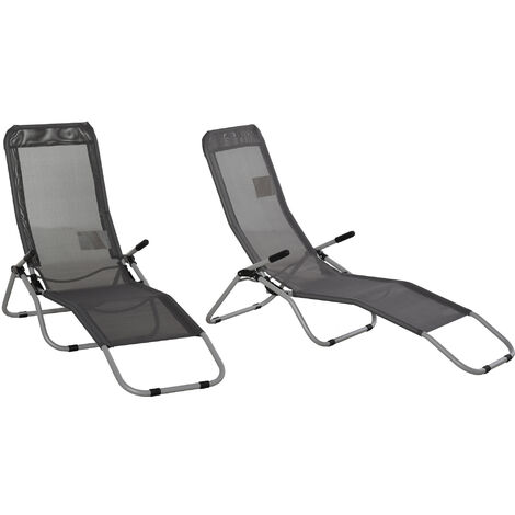 Outsunny Set of 2 Outdoor Recliner Portable Lounge Chairs w/ Adjustable Backrest