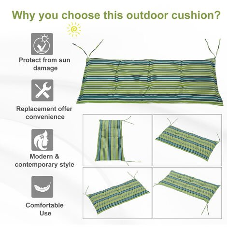 Outsunny Set Of 2 Striped Bench Cushions 2 Seater Padded w/ Tie Fastenings Green Grey