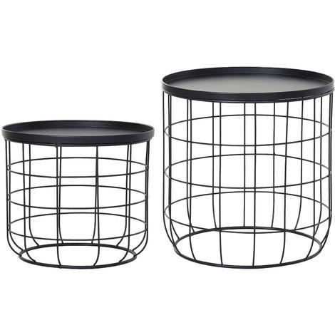 Outsunny Set Of 2 Webbed Frame Side Tables w/ Saucer Top Metal Stacking Black