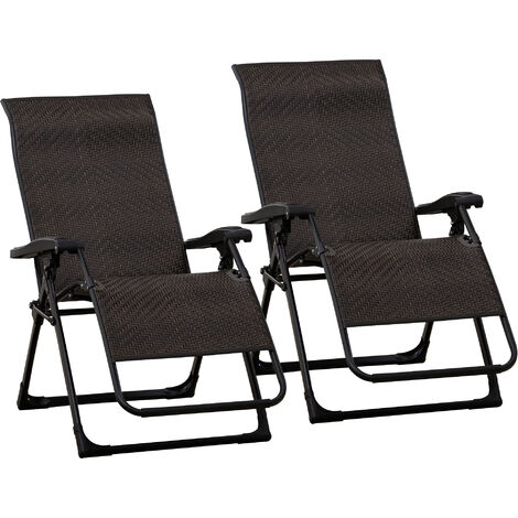 Outsunny Set of 2 Zero Gravity Chair Folding Recliner Indoor Outdoor Seat Brown