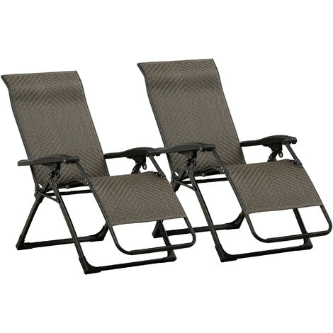 Outsunny Set of 2 Zero Gravity Chair Folding Recliner Indoor Outdoor Seat Grey