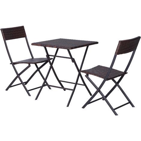 Outsunny Set Tavolino da Giardino con 2 Sedie Pieghevoli in PE Rattan, Marrone