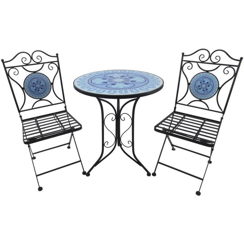 Sedie Da Esterno Design.Outsunny Set Tavolino E Sedie Da Giardino Terrazzo 3pz Design A Mosaicoin In Metallo Blu Nero