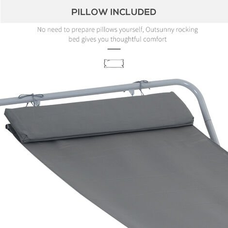 Outsunny Single Sun Bed Lounger Rocking Swing Bed Hammock - Grey
