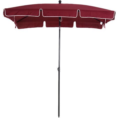 Outsunny Sobrilla Parasol Rectangular Ángulo Ajustable 198x130x240cm En Color Rojo Vino - vino rojo