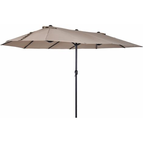 Outsunny Sombrilla Doble Extragrande Parasol para Terraza Patio o Jardín Anti-UV Café