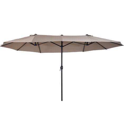 """main image of """"Outsunny Sombrilla Doble Extragrande Parasol para Terraza Patio o Jardín Anti-UV Café - Café"""""""