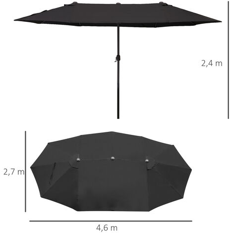 Outsunny Sombrilla Doble Extragrande Parasol para Terraza Patio o Jardín Anti-UV Negro