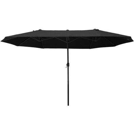Outsunny Sombrilla Doble Extragrande Parasol para Terraza Patio o Jardín Anti-UV Negro - negro