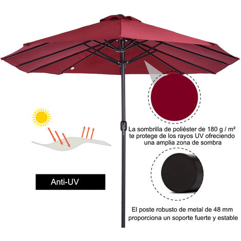 Outsunny Sombrilla Doble Extragrande Parasol para Terraza Patio o Jardín Anti-UV Rojo