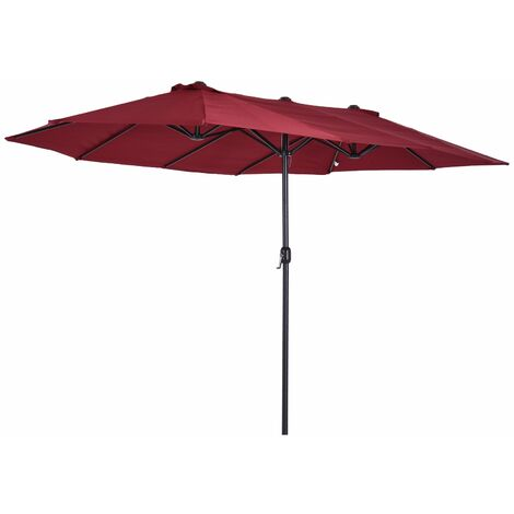 Outsunny Sombrilla Doble Extragrande Parasol para Terraza Patio o Jardín Anti-UV Rojo - Rojo