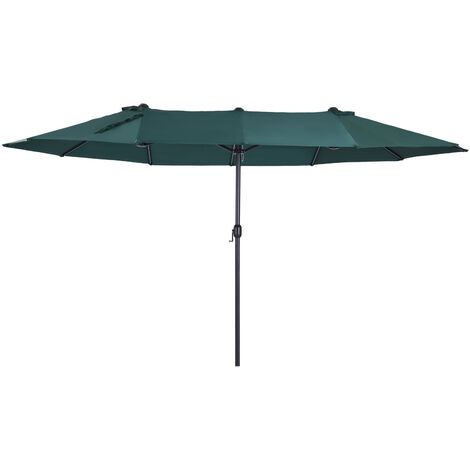 Outsunny Sombrilla Doble Extragrande Parasol para Terraza Patio o Jardín Anti-UV Verde