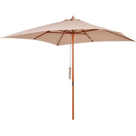 Outsunny Sombrilla Madera para Jardín Parasol para Patio Cuadrado 3x3m
