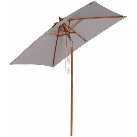 Outsunny Sombrilla Parasol 200x150cm Bambú Madera para Jardín Patio Playa Ángulo Inclinable - Gris