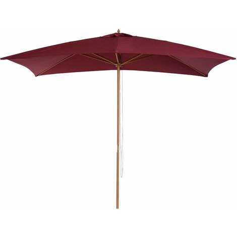 Outsunny Sombrilla Parasol 2x3x2,5m Jardin Terraza Poliester 180g/m2 y Madera Rojo Vino - rojo vino