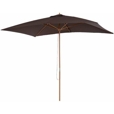 Outsunny Sombrilla Parasol de Exterior Jardín Terraza Playa Poliéster y Bambú 2x2,95x2.55m