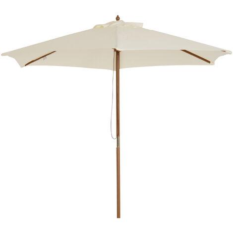 Outsunny Sombrilla Parasol de Patio Terraza Jardin Diametro 2,5m Altura 2,45m Color Beige