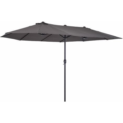 Outsunny Sombrilla Parasol para Jardín Carpas Toldos de Terraza 4.6x2.7x2.4m Gris