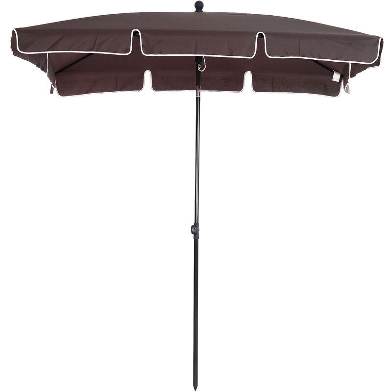 Outsunny Sombrilla De Terraza Para Jardín Parasol Cuadrado Inclinable Poliester 2x1 25x2 35m Marrón