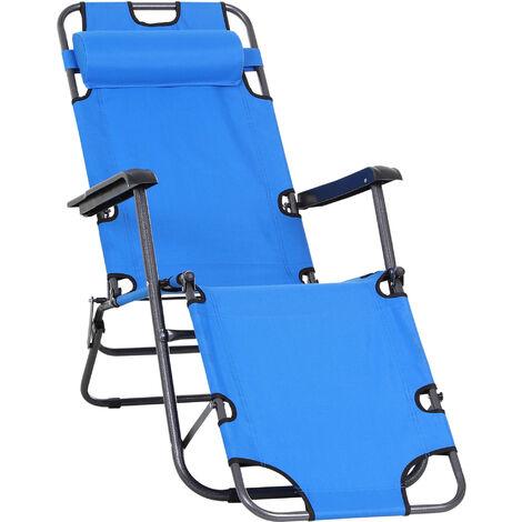 Outsunny® Sonnenliege Relaxliege Strandliege Gartenliege Klappbar 2-Stufig Kissen Blau