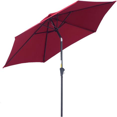 Outsunny® Sonnenschirm Gartenschirm Knickschirm Strandschirm mit Handkurbel Alu Weinrot