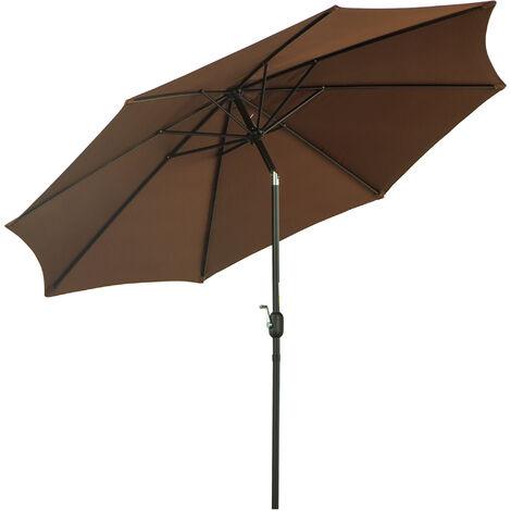 Outsunny® Sonnenschirm Knickschirm Gartenschirm mit Handkurbel Stahl 180/㎡ Polyester Braun Ø3 x 2,45 m