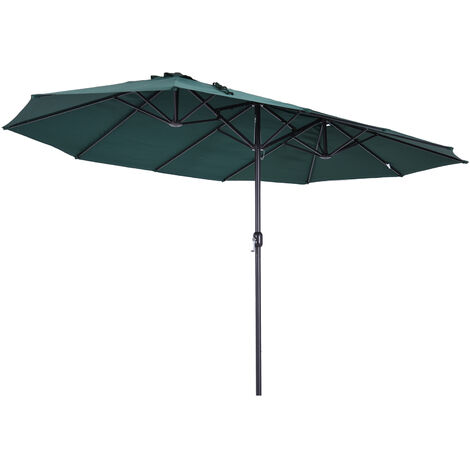 Outsunny® Sonnenschirm Marktschirm Gartenschirm Doppelsonnenschirm mit Handkurbel Grün Oval 460 x 270 x 240 cm