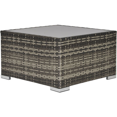 Outsunny Square Rattan Dining Coffee Table w/ Glass Top Garden Furniture Dark Grey