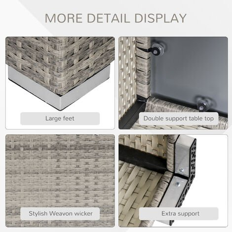 Outsunny Square Rattan Dining Coffee Table w/ Glass Top Garden Furniture Grey